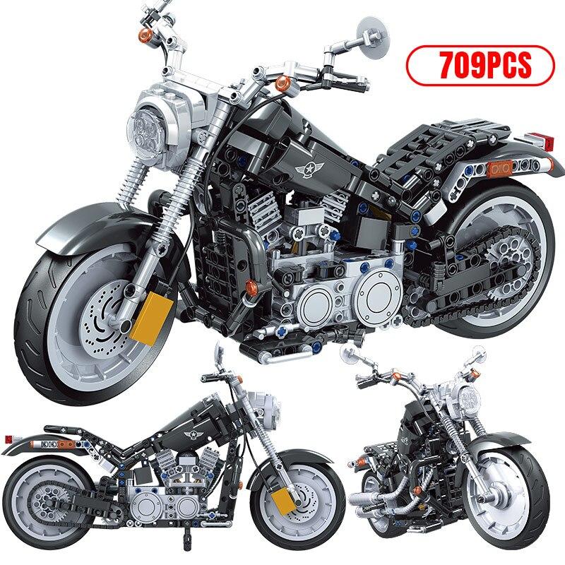 City Creator Motorcycle MOC Model Building Blocks Technic Racing Car Motorbike Vehicle SuperCar Bricks Gifts Toys for Children